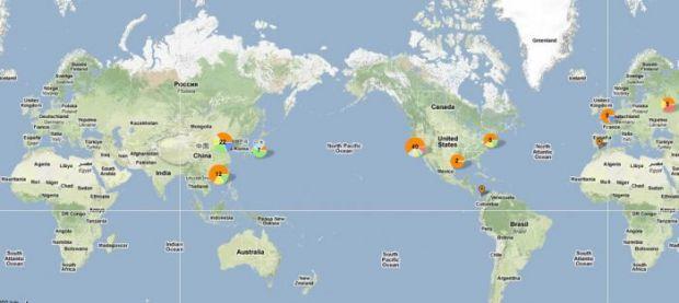 Harta celor mai vizitate 100 de site-uri din lume