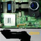 CICLOP: senzor (rosu), procesor de imagine (albastru), obiectiv (galben)