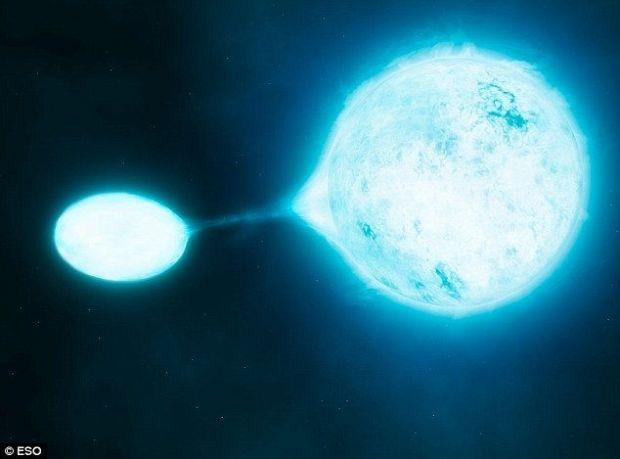 Atacul soarelui vampir. Clipa in care un soare este absorbit de o alta stea, surprinsa pe telescop