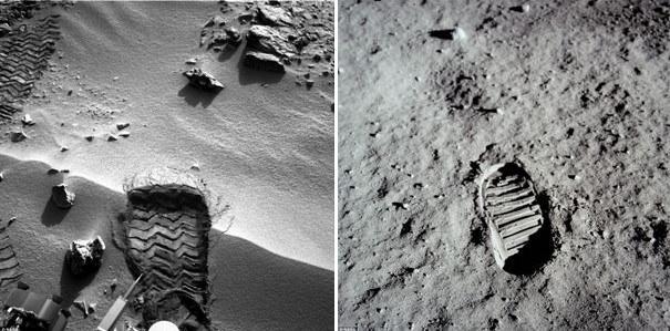 Fotografia unei  urme de picior  de pe Marte, trimisa pe pamant de roverul Curiosity