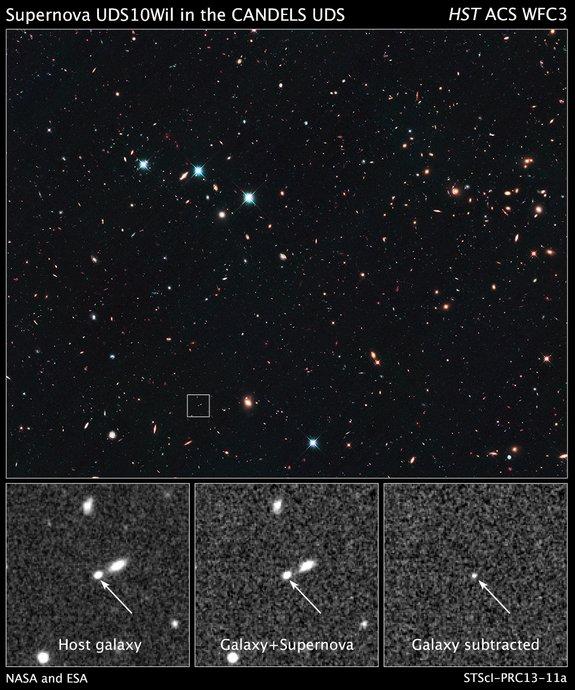 FOTO: Explozia unei stele acum 10 miliarde ani. Cea mai spectaculoasa oglinda in timp facuta de NASA