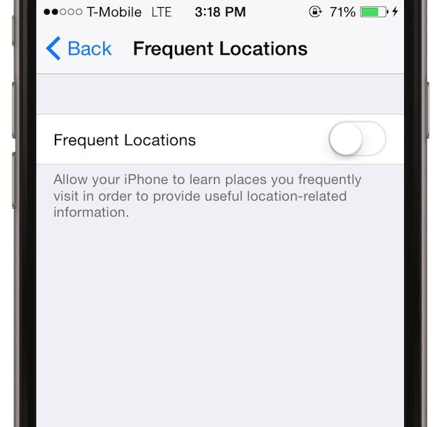 Nu-i permite telefonului sa caute mereu locatia - mergi la Settings > Privacy > Location Services > System Services si opreste optiunea Frequent Locations