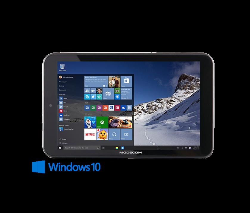 Modecom FreeTAB 8025 IPS IB WIN 10. Producatorul, din Varsovia, spune ca asta e prima tableta nativa cu Windows 10. Are 8 inch, procesor quad-core si 1GB de RAM. Pret: 84EUR