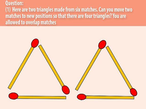 Provocarea pe care 1 persoana din 100 stiu sa rezolve! Cum formezi 4 triunghiuri prin mutarea a 2 bete de chibrit