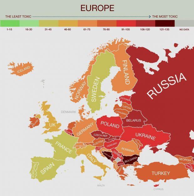 Clasamentul celor mai poluate tari din lume. Pozitia ocupata de Romania