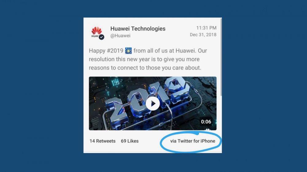 Doi angajați Huawei au scris pe contul oficial mesaje de Anul Nou de pe un iPhone. Cum au fost sancționați