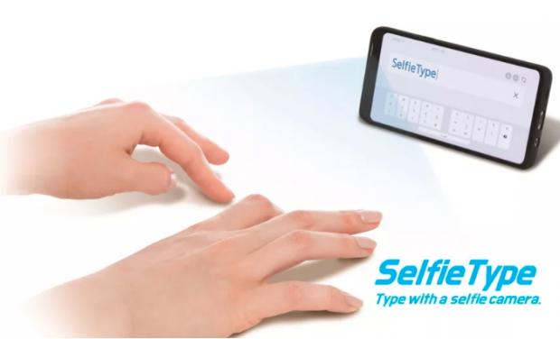 SelfieType, tastatura invizibilă lansată de Samsung. Funcționează cu ajutorul inteligenței artificiale